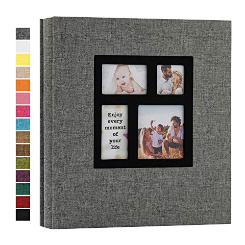 potricher Photo Album 4x6 1000 Photos Linen Hardcover Large Capacity for Family Wedding Anniversary Baby Vacation (Grey, 1000 Pockets)