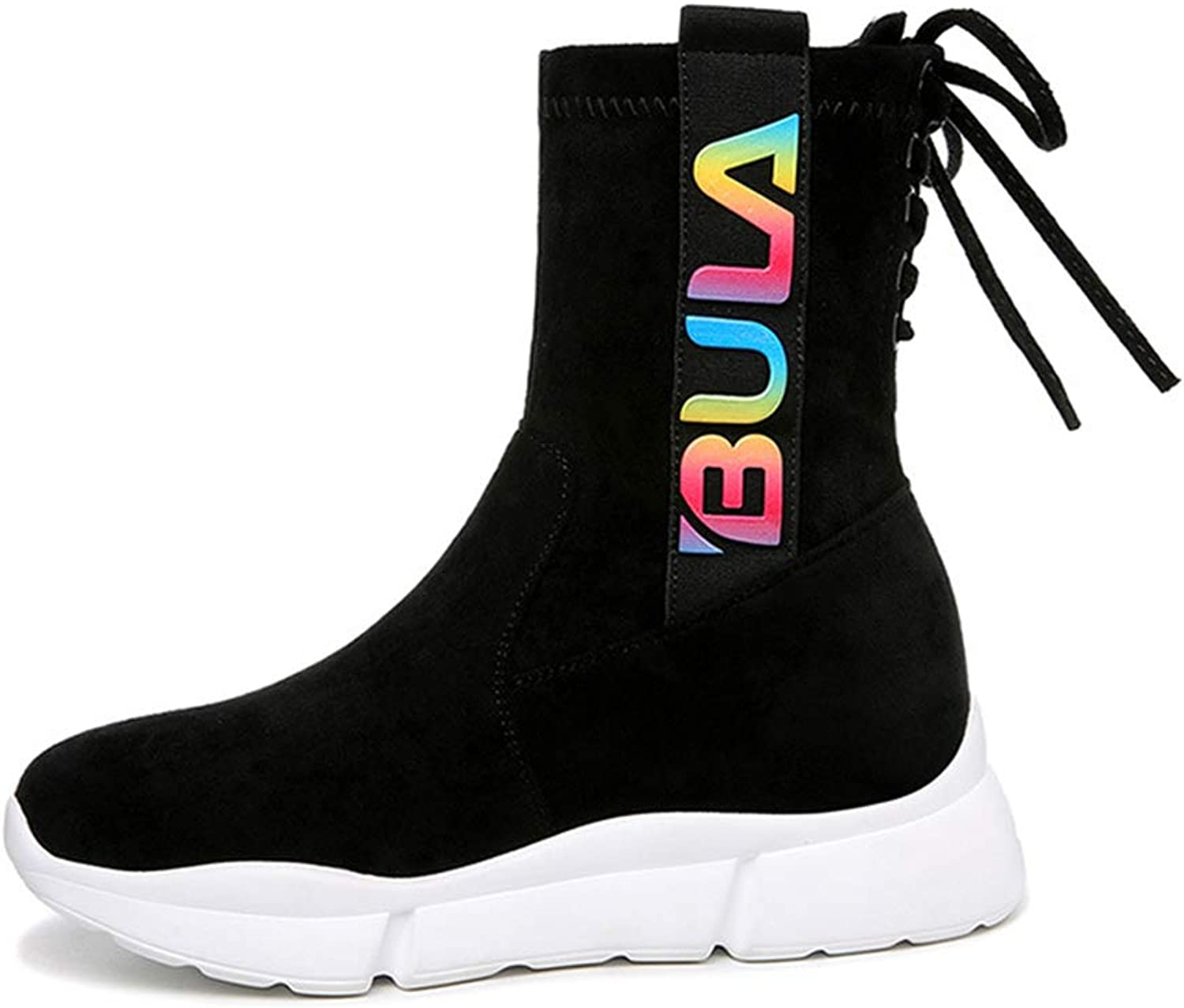 Women's shoes Microfiber Spring & Fall High-top Sneakers Stretch Socks Boots Lace Up Sports shoes Platform shoes