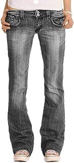 YOUCAI Mujer Pantalones de Talle Bajo Bootcut Vaqueros Retro Flared Jeans Slim Fit Holgados Pantalones Largos Pantalones d...