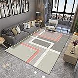 Alfombra Para Habitacion Juvenil gris Alfombra rosa gris raya patrón antideslizante alfombra de sala de estar antiácaros Alfombras Niñas Habitacion Infantil El 120X160CM Alfombras Exterior 3ft 11.2''X