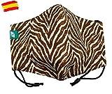 Mascarilla de tela higiénica homologada UNE 0065 mujer con filtro fijo lavable_marca: Brissa España