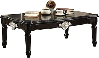 HomeRoots Traditional Rectangular Wooden Coffee Table with Scalloped Top, Black