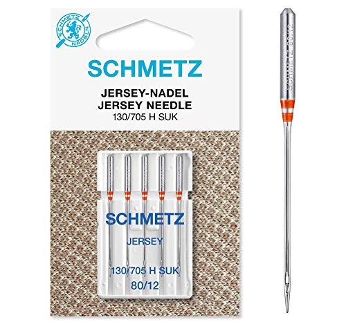 SCHMETZ agujas para máquina de coser Jersey (punta de bola), (130/705 H-SUK, paquete de 5) [80/12 (estándar)]