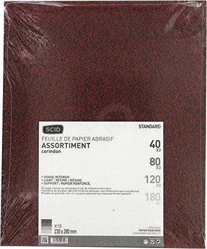 Papier corindon SCID - Grain 40, 80, 120, 180 - Vendu par 10