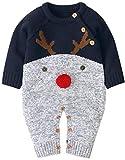 Carolilly Unisex Baby Strampler Weihnachten Elch Rentier Cartoon Strick Langarm und Rote Nase Winter (blau, 3-6 Monate)