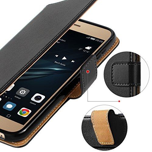 HOOMIL Handyhülle für Huawei P9 Lite Hülle, Premium PU Leder Flip Schutzhülle für Huawei P9 Lite Tasche, Schwarz - 5