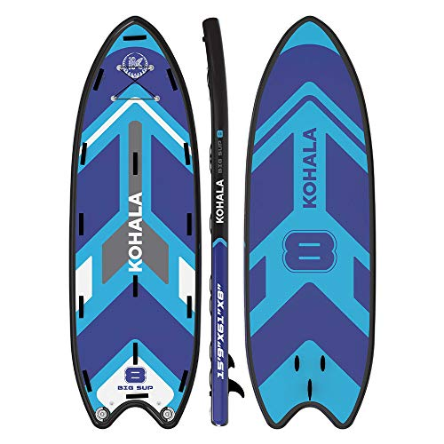 KOHALA Tabla de Paddle Surf Big Sup Color Azul - Tipo Beginner/Allround - Capacidad Máxima 650 kg - Aletas: 3 Aletas Gigantes
