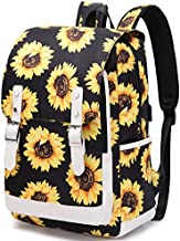 Sunflower School Backpack for Teen Girls Women Floral Bookbag School Bag 15.6 inch Laptop Backpack for School Travel