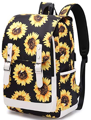 Sunflower School Backpack for Teen Girls Women Floral Bookbag School Bag 15.6 inch Laptop Backpack for School Travel