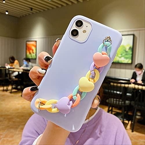 Custodia per telefono con cinturino 5S SE 6S per iPhone 11 Pro Max 12 Mini iPhone 7 8 Plus X Custodia XR XS 3D Love Macaron Custodia in silicone per braccialetto iPhone X Blu
