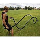 WeFun Corda da Allenamento Fisico Φ 38MM,Fune di Allenamento/Corda di Formazione/Battle Rope per Fitness (15m/Nero)