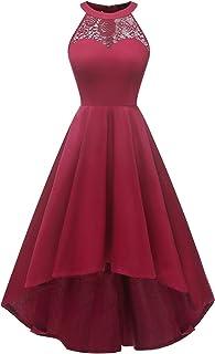 DRESSTELLS Women's Vintage 50's Bridesmaid Halter Floral Lace Cocktail Prom Party Hi-Lo Dress