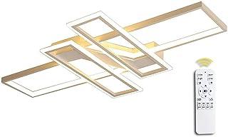 Moderna lámpara LED de techo para salón, con mando a distancia regulable, Luz de techo de diseño cuadrado metal acrílico diseño techo lámpara colgante para dormitorio cocina comedor oficina lámpara