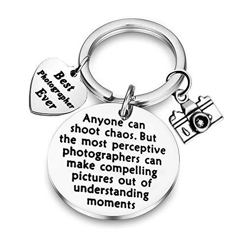 BAUNA Photographer Gift Camera Keychain Best Photographer Ever Thank You Gift for Photographer Videographer Camera Accessories Keychain (Photographer Keychain)