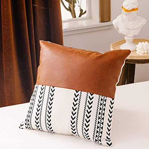 Boho - Federa decorativa in ecopelle e cotone e lino, per divano letto, motivo geometrico moderno, 45 x 45 cm (A)