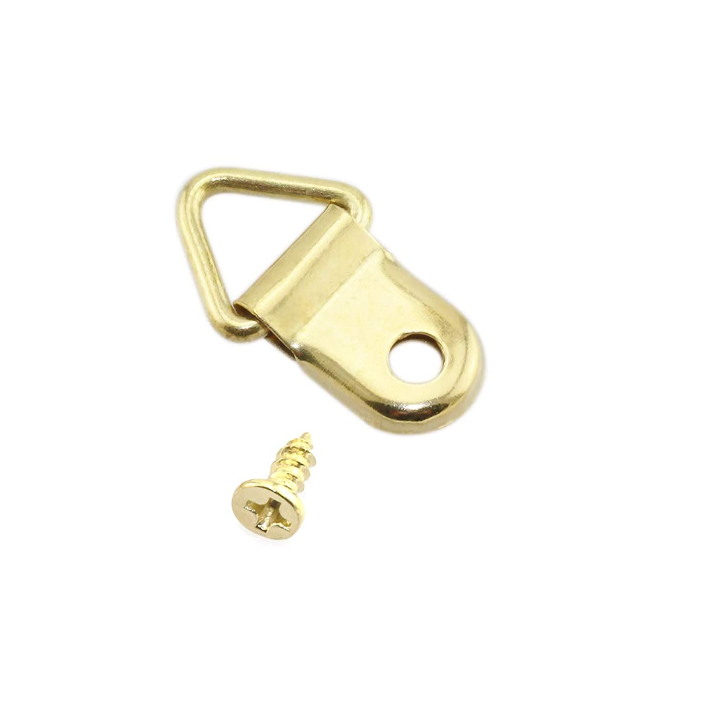 Lind Kitchen 100pcs 15x25mm Gold Triangle D-Ring Frame Hook Hanger for Picture Painting Picture Mirror Artwork Backboard etc Home Decoration Hanging Hardware