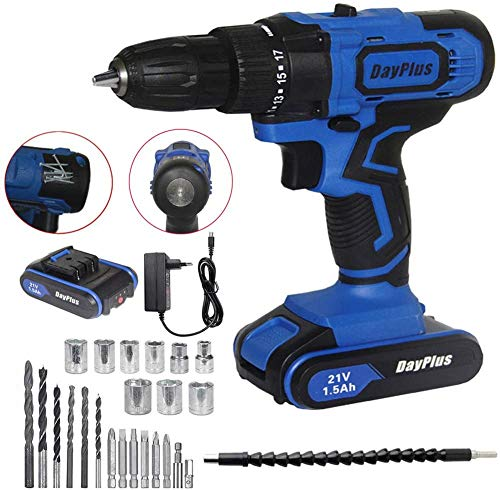 Cordless Drill Driver 21V Max 45N.m and Impact Driver, Drill Combo Kit, 2x1.5Ah Batteries, 1.5H Fast Charging, Built-in LED Light, Drilling Wood, Metal and Plastic 29Pcs Bits Sets