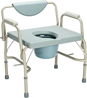 Mefeir 550 lbs Heavy Duty Drop Arm Medical Bedside Commode Chair, FDA Approved Homecare Toilet Seat with Safety Steel Frame, 6 Quart Capacity Pail, Adjustable Height Support Tool-Free Easy Assembly