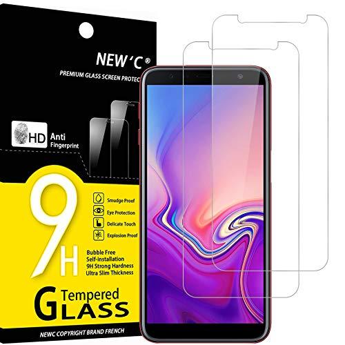 NEW'C Lot de 2, Verre Trempé Compatible avec Samsung Galaxy J6 Plus, Film Protection écran sans Bulles d'air Ultra Résistant (0,33mm HD Ultra Transparent) Dureté 9H Glass