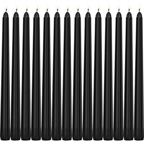 Tobeape Halloween Black Taper Candles, 14er Set Dripless Unscented Candles, 10 Zoll groß, 3/4 Zoll dick - 10 Stunden sauberes Brennen