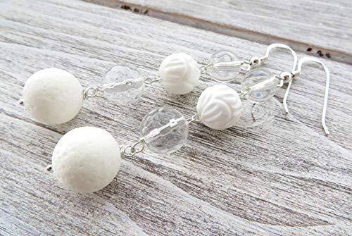 Pendientes de coral blanco, cristal de roca y conchas, pendientes de plata de ley 925, pendientes largos, pendientes colgantes, joyas modernas