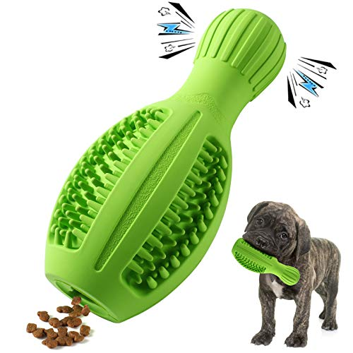 Petdexon Dog Chew Toys for Puppies, Durable Squeaky Puppy Chew Toys for Teething Dental Care Dog Toothbrush for Small Medium Breed, Natural Rubber with Milk Flavor