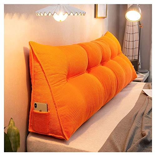 YAOTT Stile Nordico Tinta Unita Letto Cuscino Triangolo Supporto Schienale Staccabile Testata Ampio Schienale Cuscino Divano Cuscino casa Giallo Arancione 60 * 23 * 50cm(Senza Fibbia)