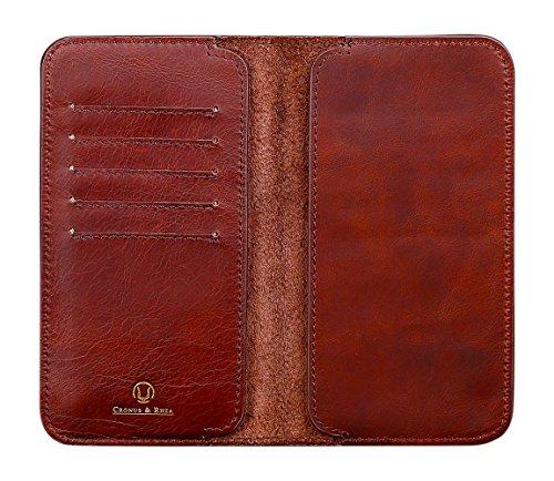 Cronus und Rhea - Smartphone Geldbörse aus Leder - Modell: Cerberus - Mit Geschenkbox - Geldbeutel Hülle Portemonnaie Tasche (Dunkelbraun, XL)
