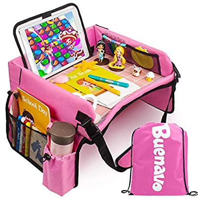 [New Version] Car Seat Organizer Kids Travel Tray for Kids Toddlers Activities in Car Seat, Stroller, Airplane | Touch Screen iPad Holder | Waterproof Dry Erase Top | Side Pocket & Water Bottle Holder by BUENAVO