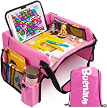 [New Version] Car Seat Organizer Kids Travel Tray for Kids Toddlers Activities in Car Seat, Stroller, Airplane   Touch Screen iPad Holder   Waterproof Dry Erase Top   Side Pocket & Water Bottle Holder