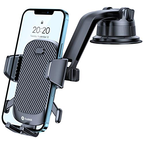 [ Big Phone & Thick Case Friendly ] Andobil Auto Clamp Dashboard Car Phone Holder [ Bulit to Last ] Universal Dash Phone Mount, Compatible with iPhone 12 11 Pro Max Samsung, LG, Pixel, etc