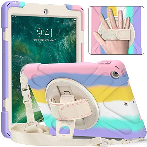 SsHhUu iPad Mini Case 5th Generation, iPad Mini 5 Case for Kids, Heavy Duty Protective Rugged Case Cover with Hand Strap, Shoulder Strap, Kickstand, Pencil Holder for iPad Mini 5 / 4, RainBow Pink