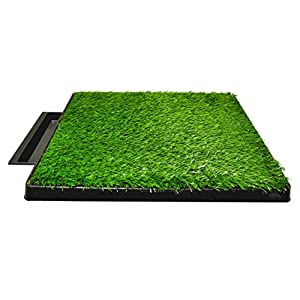 Downtown Pet Supply Dog Pee Potty Pad, Bathroom Tinkle Artificial Grass Turf, Portable Potty Trainer Full System, Trays, and Replacement Grass (16″ x 20″, 20″ x 25″, 20″ x 25″ with Drawer, 25″ x 30″)