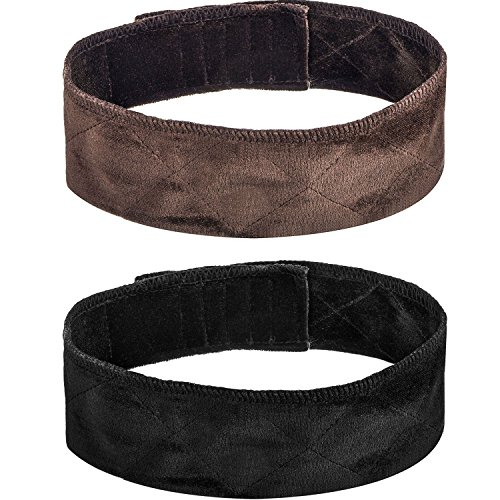 2 Pack Velvet Wig Band Head Hair Band Adjustable Fastern (Black and Brown)