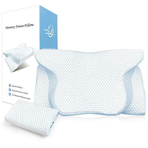 BESFAN Orthopädisches Kissen, Foam Kissen, Ergonomisches Kissen für Rückenschläfer Seitenschläfer und Bauchschläfer mit RoHS Zertifizierung, 2 Höhen, 2pcs Kissenbezüge