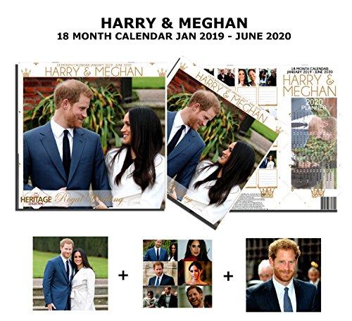 Harry & Meghan De koninklijke bruiloft 18 maanden kalender 2019 met Souvenir Sleeve - Inclusief 2 grote posters, 6 uitgesneden ansichtkaarten en 2020 Poster Size Pull Out Planner