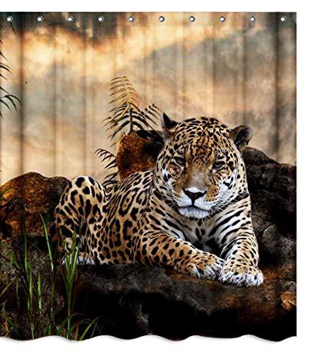 African Safari Wildlife Tier Leopard Stoff Duschvorhang Sets Badezimmer Dekor mit Haken Wasserdicht Waschbar 180 x 180 cm Braun Schwarz Grün