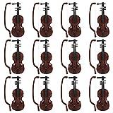 STOBOK 12 Stücke Mini Geige Deko Basteln Geige 1/12 Mini Kunststoff Violine Modell Puppenhaus Dekoration Musikinstrument Spielzeug Zubehör Weihnachten Geschenk 3,2x8,5 cm
