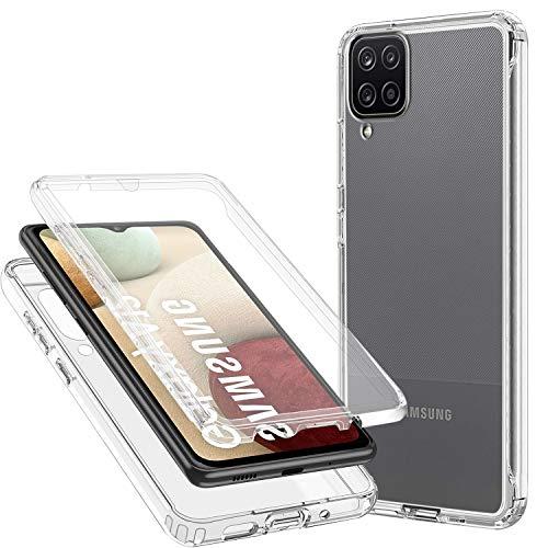 CHIMUCO Funda para Samsung Galaxy A12, 360 Grados Carcasa Transparente Ultrafino Silicona TPU Frente y PC Back Case Protección Integral Funda de Doble Protección - Transparente