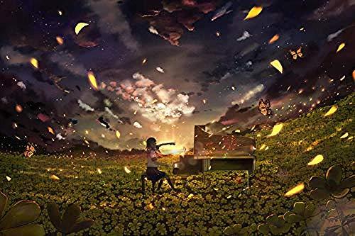 Houten puzzel speelgoed,Volwassene Klassiek Puzzel Kind DIY Puzzel Creatief Cartoon Spelspeelgoed - Meisje speelt piano -75 x 50_cm