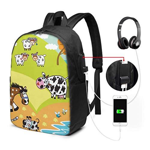 Mochila Ligera para computadora portátil Dibujos Animados de Animales domésticos Cabra Oveja Caballo Cerdo D Mujer Mochila Escolar con Puerto de Carga USB y Puerto para Auriculares para Viajes de tra