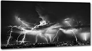 DINGDONG ART Framed Modern Wall Art Nature Lightning Painting Print on Canvas Storm and City Night View Picture for Home Living Room Decoration Wall Decor 1 Pcs (24