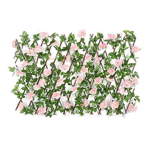 Celosía Seto con Rosa, Barrera Plegable De Mimbre para El Jardín, De Privacidad Extensible Pantalla Valla De Enrejado Valla De Planta De Jardín para Valla De Jardín Decoración De Patio Trasero