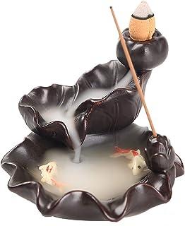 Kingsglen Ceramics Waterfall Incense Burner, Backflow Incense Burner,Incense Burner Holder, Koi Fish Incense Burner, Incen...