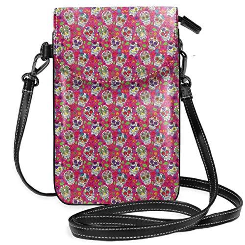 Lsjuee Cartera de flores de calavera con diseño de bolso de teléfono celular cruzado para mujer