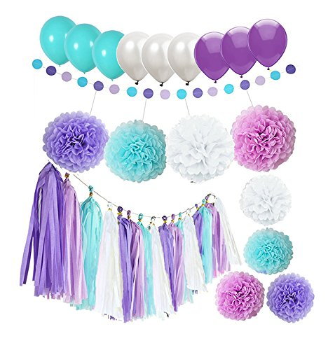 Ucity 38pcs Mermaid Under The Sea Party DecorationsPurple Lavender White Turquoise Paper Pom Poms Flowers Tissue Tassel Polka Dot Paper Garlandkit with 12' Balloons for Birthday Bridal Baby Shower