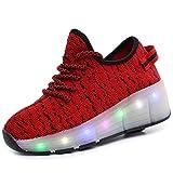 Getrichar Niñas, niños y niños Soltero/Doble Rueda LED Parpadeante patineta Zapatos Rodillo Zapatillas de Deporte (Color : G, Size : 28)