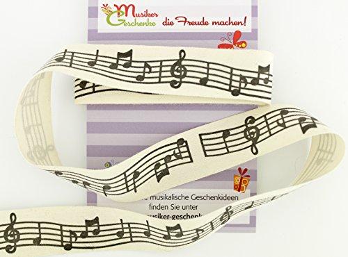 mugesh Geschenkband mit Notenzeile Stoff - Schöne Deko für Musikgeschenke