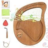 Kacsoo Arpa de Lira, 24 Cuerdas Arpa Pequeña Arpa de Caoba Portátil con una Cuerda de Repuesto y una Bolsa Transporte El Mejor Regalo Para Principiantes y Amantes de la Música (WOOD)