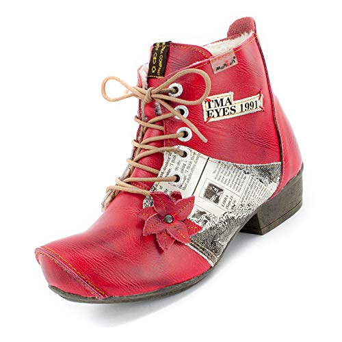TMA Damen Winter-Stiefeletten, Rot, 8077-3-38